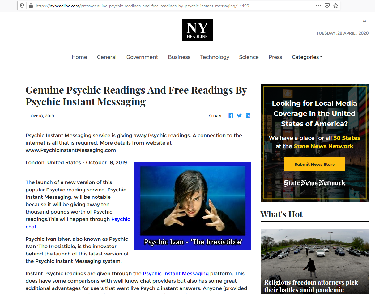 Example of a full page placement on news or media website