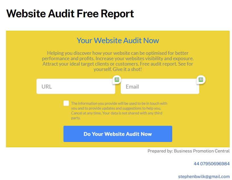 Website Audit Free Report For Accountancy Business Owners - Business Promotion Central
